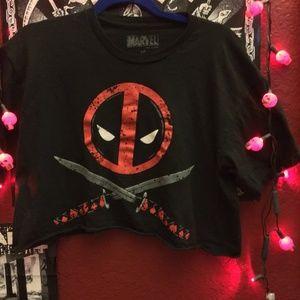 Make Offer! Deadpool cropped tee shirt large
